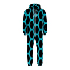 Hexagon2 Black Marble & Turquoise Colored Pencil (r) Hooded Jumpsuit (kids)