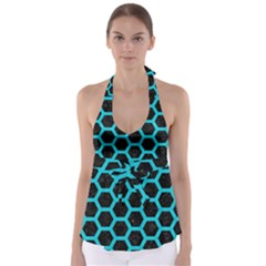 Hexagon2 Black Marble & Turquoise Colored Pencil (r) Babydoll Tankini Top