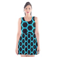 Hexagon2 Black Marble & Turquoise Colored Pencil (r) Scoop Neck Skater Dress