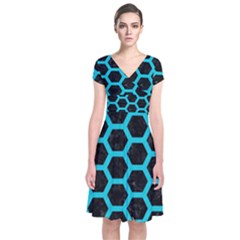 Hexagon2 Black Marble & Turquoise Colored Pencil (r) Short Sleeve Front Wrap Dress