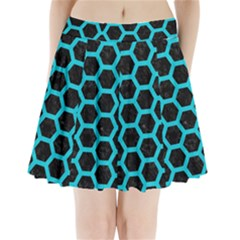 Hexagon2 Black Marble & Turquoise Colored Pencil (r) Pleated Mini Skirt
