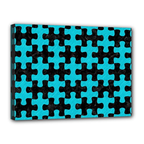 Puzzle1 Black Marble & Turquoise Colored Pencil Canvas 16  X 12