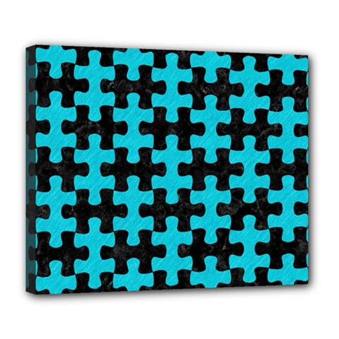Puzzle1 Black Marble & Turquoise Colored Pencil Deluxe Canvas 24  X 20