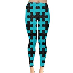 Puzzle1 Black Marble & Turquoise Colored Pencil Leggings