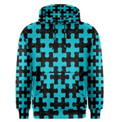 Puzzle1 Black Marble & Turquoise Colored Pencil Men s Pullover Hoodie