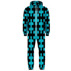 Puzzle1 Black Marble & Turquoise Colored Pencil Hooded Jumpsuit (men)