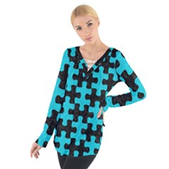 Puzzle1 Black Marble & Turquoise Colored Pencil Tie Up Tee