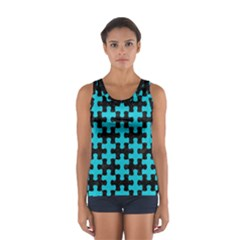 Puzzle1 Black Marble & Turquoise Colored Pencil Sport Tank Top