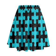 Puzzle1 Black Marble & Turquoise Colored Pencil High Waist Skirt