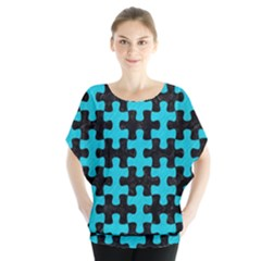 Puzzle1 Black Marble & Turquoise Colored Pencil Blouse