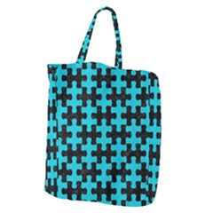 Puzzle1 Black Marble & Turquoise Colored Pencil Giant Grocery Zipper Tote