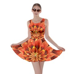 Beautiful Ruby Red Dahlia Fractal Lotus Flower Skater Dress
