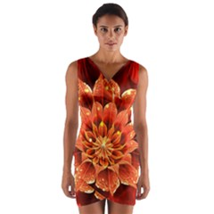 Beautiful Ruby Red Dahlia Fractal Lotus Flower Wrap Front Bodycon Dress