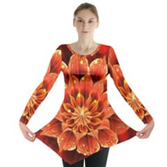 Beautiful Ruby Red Dahlia Fractal Lotus Flower Long Sleeve Tunic