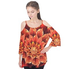 Beautiful Ruby Red Dahlia Fractal Lotus Flower Flutter Tees