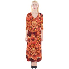 Beautiful Ruby Red Dahlia Fractal Lotus Flower Quarter Sleeve Wrap Maxi Dress