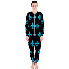 Royal1 Black Marble & Turquoise Colored Pencil Onepiece Jumpsuit (ladies)