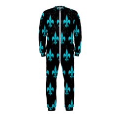 Royal1 Black Marble & Turquoise Colored Pencil Onepiece Jumpsuit (kids)
