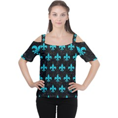 Royal1 Black Marble & Turquoise Colored Pencil Cutout Shoulder Tee