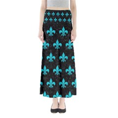 Royal1 Black Marble & Turquoise Colored Pencil Full Length Maxi Skirt