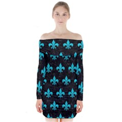 Royal1 Black Marble & Turquoise Colored Pencil Long Sleeve Off Shoulder Dress