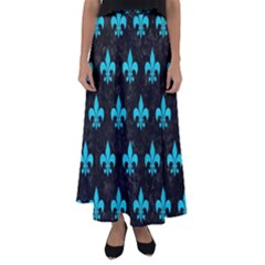 Royal1 Black Marble & Turquoise Colored Pencil Flared Maxi Skirt