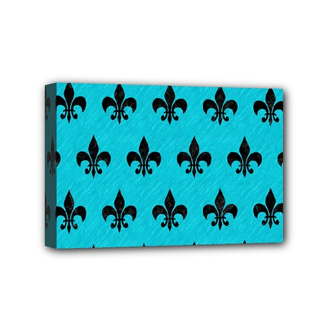 Royal1 Black Marble & Turquoise Colored Pencil (r) Mini Canvas 6  X 4