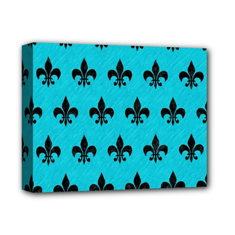 Royal1 Black Marble & Turquoise Colored Pencil (r) Deluxe Canvas 14  X 11