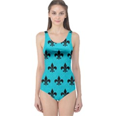 Royal1 Black Marble & Turquoise Colored Pencil (r) One Piece Swimsuit
