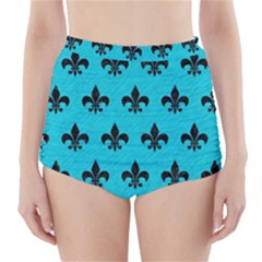 Royal1 Black Marble & Turquoise Colored Pencil (r) High Waisted Bikini Bottoms