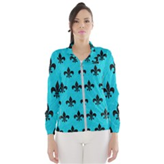 Royal1 Black Marble & Turquoise Colored Pencil (r) Wind Breaker (women)