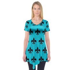 Royal1 Black Marble & Turquoise Colored Pencil (r) Short Sleeve Tunic