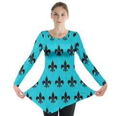 Royal1 Black Marble & Turquoise Colored Pencil (r) Long Sleeve Tunic