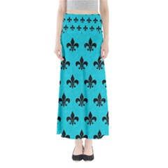 Royal1 Black Marble & Turquoise Colored Pencil (r) Full Length Maxi Skirt