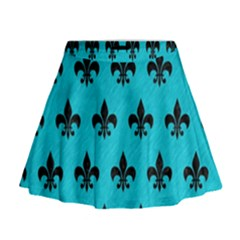 Royal1 Black Marble & Turquoise Colored Pencil (r) Mini Flare Skirt