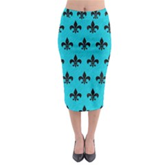 Royal1 Black Marble & Turquoise Colored Pencil (r) Midi Pencil Skirt