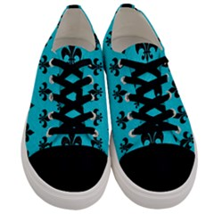 Royal1 Black Marble & Turquoise Colored Pencil (r) Men s Low Top Canvas Sneakers