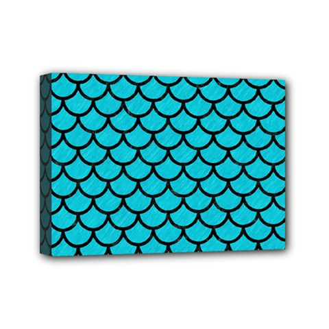 Scales1 Black Marble & Turquoise Colored Pencil Mini Canvas 7  X 5