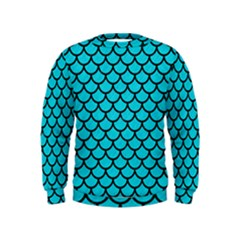 Scales1 Black Marble & Turquoise Colored Pencil Kids  Sweatshirt