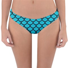 Scales1 Black Marble & Turquoise Colored Pencil Reversible Hipster Bikini Bottoms