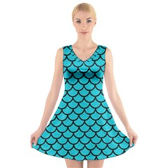 Scales1 Black Marble & Turquoise Colored Pencil V Neck Sleeveless Skater Dress