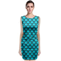 Scales1 Black Marble & Turquoise Colored Pencil Classic Sleeveless Midi Dress