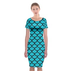 Scales1 Black Marble & Turquoise Colored Pencil Classic Short Sleeve Midi Dress