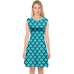 Scales1 Black Marble & Turquoise Colored Pencil Capsleeve Midi Dress