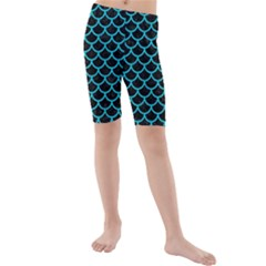 Scales1 Black Marble & Turquoise Colored Pencil (r) Kids  Mid Length Swim Shorts