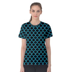 Scales1 Black Marble & Turquoise Colored Pencil (r) Women s Cotton Tee