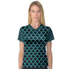 Scales1 Black Marble & Turquoise Colored Pencil (r) V Neck Sport Mesh Tee