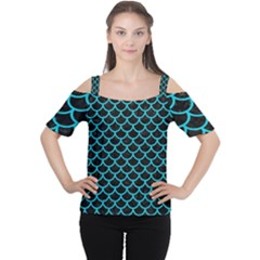 Scales1 Black Marble & Turquoise Colored Pencil (r) Cutout Shoulder Tee
