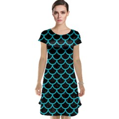 Scales1 Black Marble & Turquoise Colored Pencil (r) Cap Sleeve Nightdress