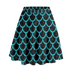Scales1 Black Marble & Turquoise Colored Pencil (r) High Waist Skirt